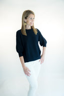 Tulip Sleeve Pleat Front Sweater by navyBLEU
