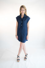Load image into Gallery viewer, navy linen shift dress short