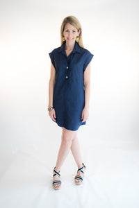 navy linen shift dress short