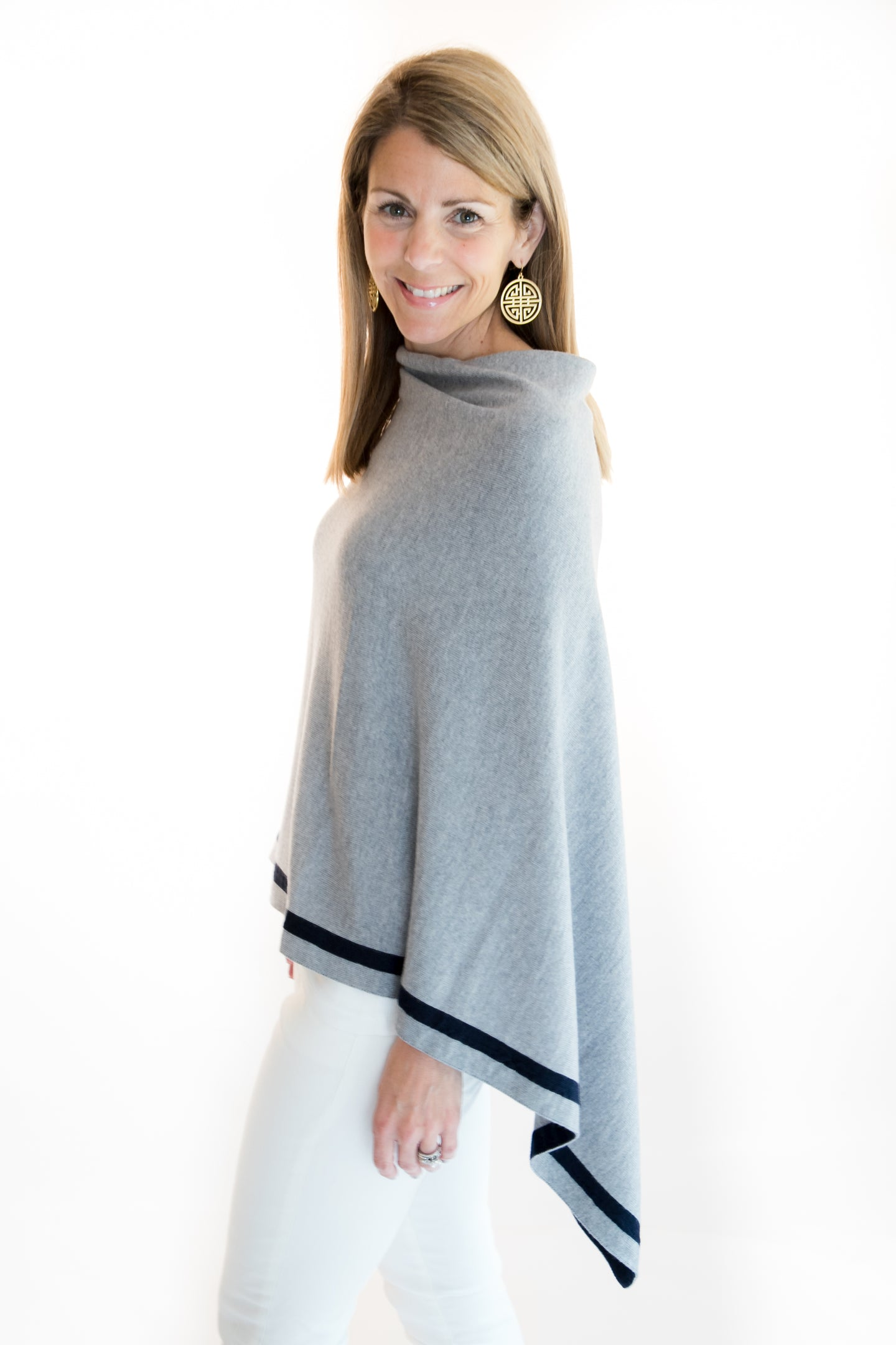 Grey and Navy Sweater Poncho