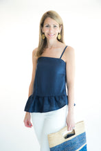 Load image into Gallery viewer, Navy Ruffle Top