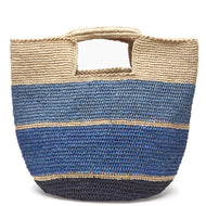 Mar Y Sol Blue straw bucket bag