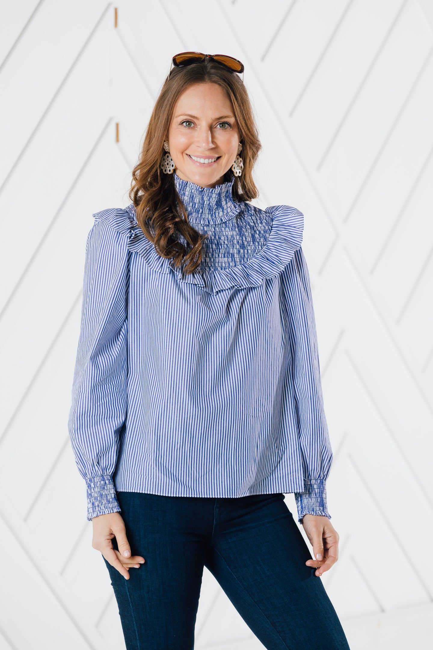 Stripe Ruffle Neck Top By Sail to Sable