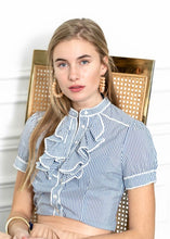 Load image into Gallery viewer, Short Sleeve Ruffle Shirt By Rochelle Behrens