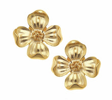 Load image into Gallery viewer, Gold Dogwood Studs