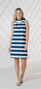 Navy and White Stripe Cowl Neck Dress By Sail to Sable