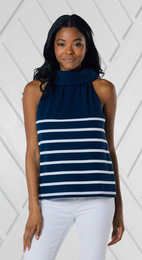 Cowl Neck Stripe Top By Sail to Sable