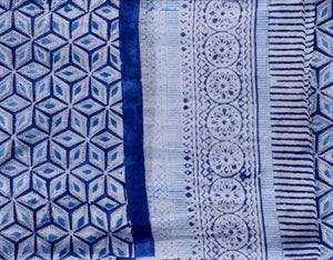 Blue Geometric Block Print Sarong By navyBLEU