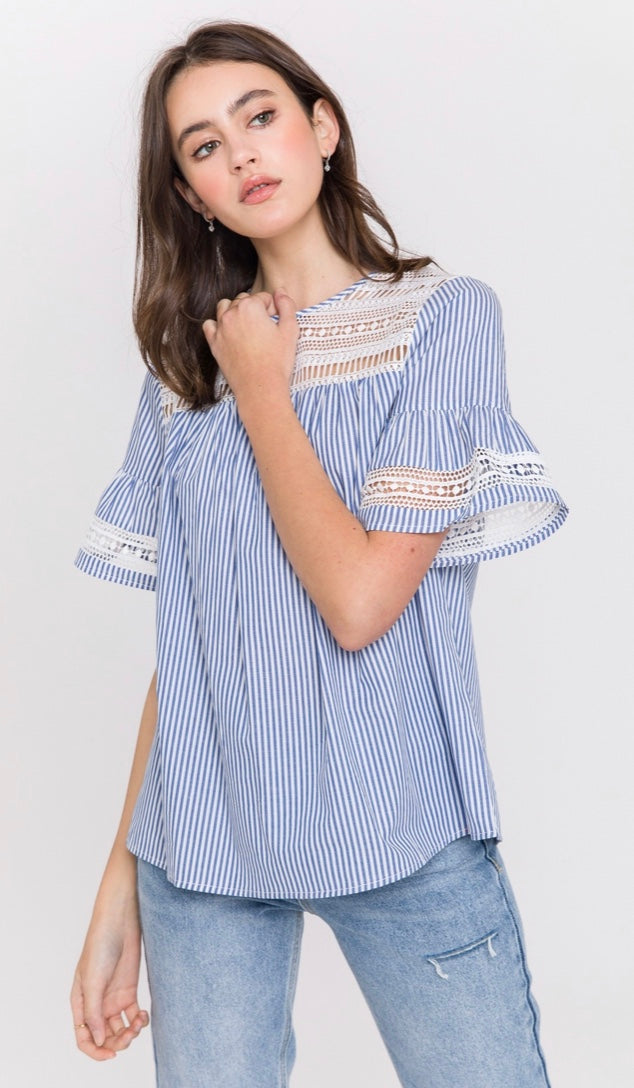Lace Striped Top By English Factory