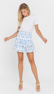 Embroidered Blue Skirt