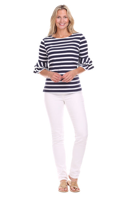 Zeeland Navy Stripe Top By Duffield Lane