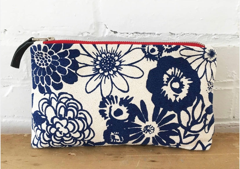 Navy Floral Cosmetic Bag By Erin Flett