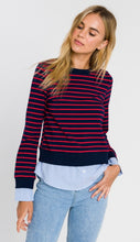 Load image into Gallery viewer, Mixed Media Striped Top By English Factory