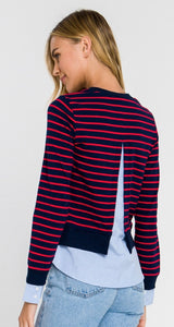 Mixed Media Striped Top By English Factory
