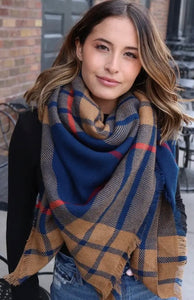 Navy and Camel Plaid Scarf