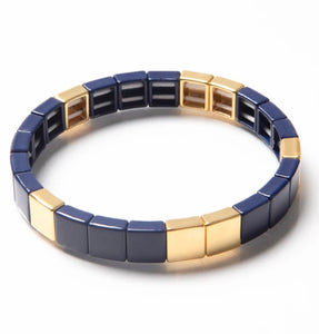 Tile Bead Bracelet - Navy/Gold By Caryn Lawn