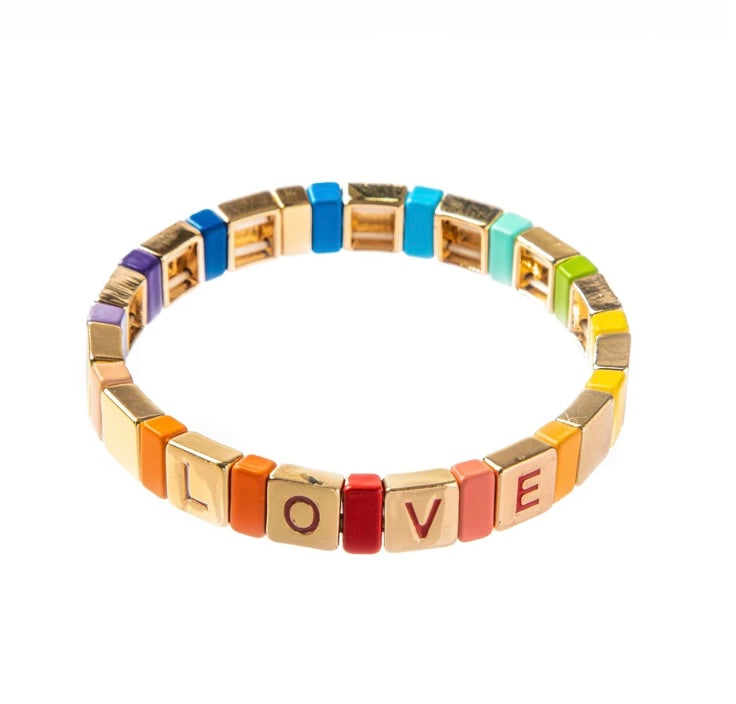 Tile Bracelet Rainbow Love By Caryn Lawn