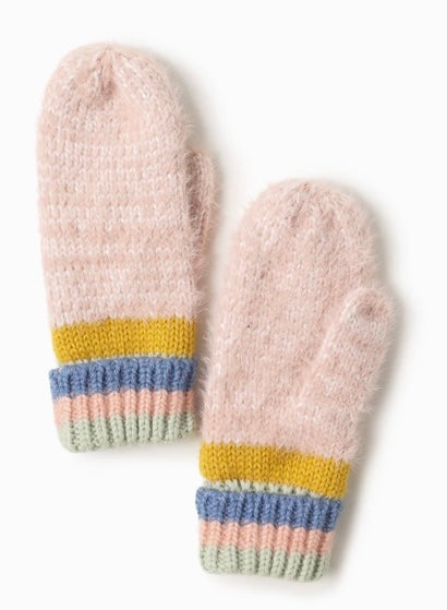 Cotton Candy Striped Mittens Pink