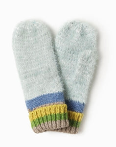 Cotton Candy Striped Mittens - Mint