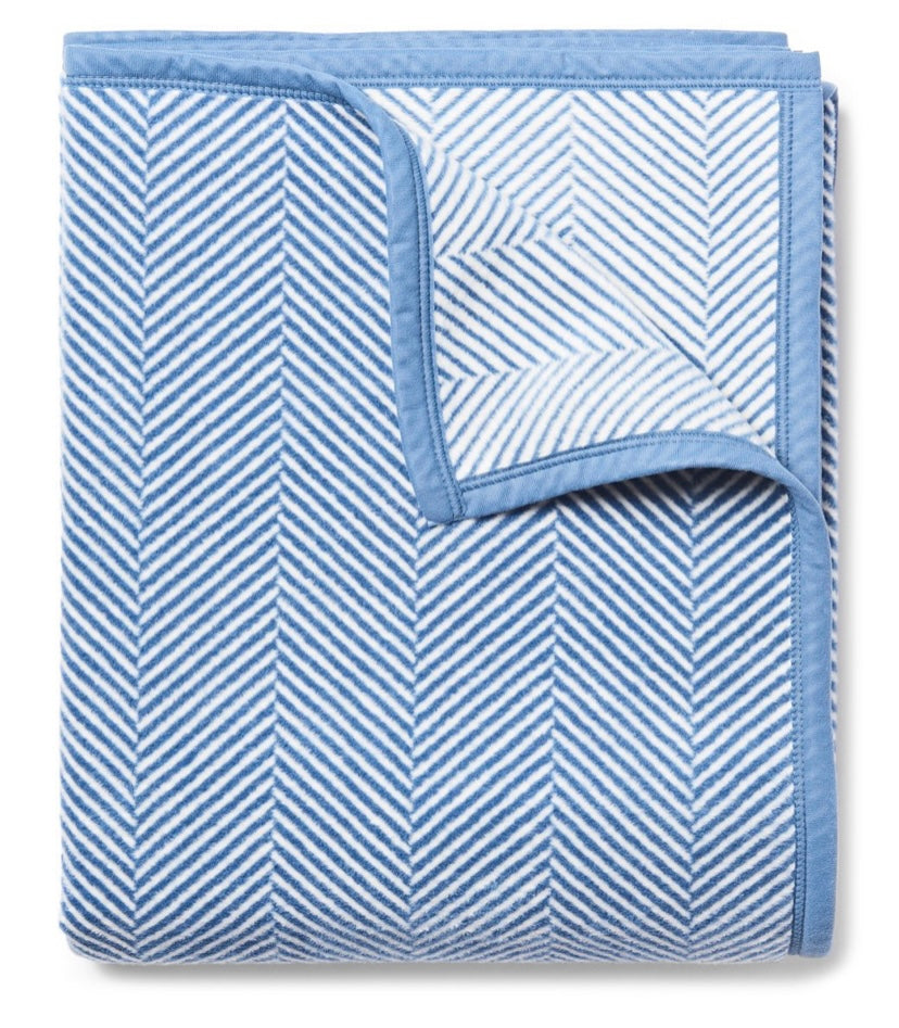 Harborview Herringbone Light Blue Blanket By Chappywrap