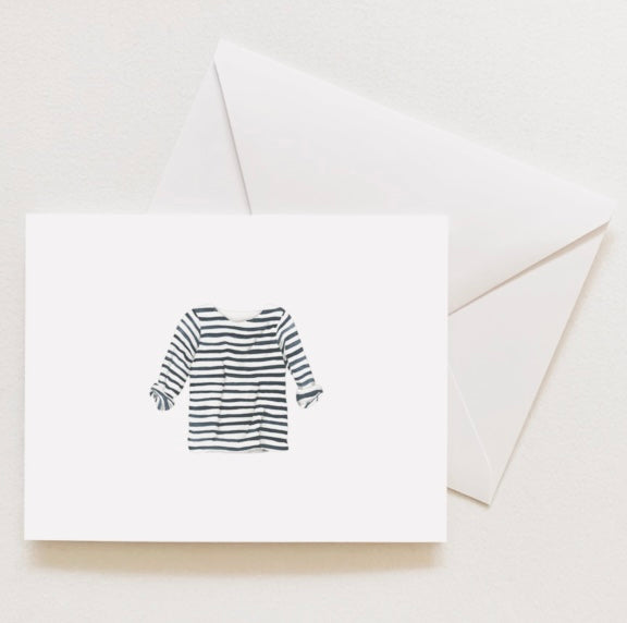 Navy and White Striped Shirt Notecards By Sara Fitz