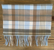 Softer Than Cashmere Light Blue Plaid Scarf