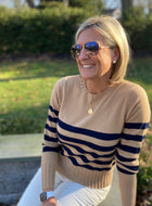 Camel and Navy Cashmere Sweater By navyBLEU