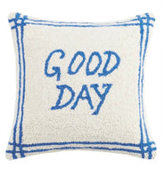Good Day Wool Hooked Pillow