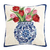 Chinoiserie Vase Tulips Hook Pillow