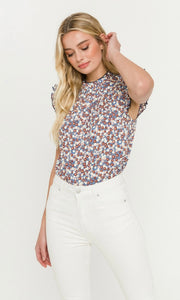 Blue Floral Contrast Top By English Factory