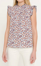 Load image into Gallery viewer, Blue Floral Contrast Top By English Factory