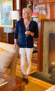 Navy Cardigan with Ivory Racing Stripe By navyBLEU