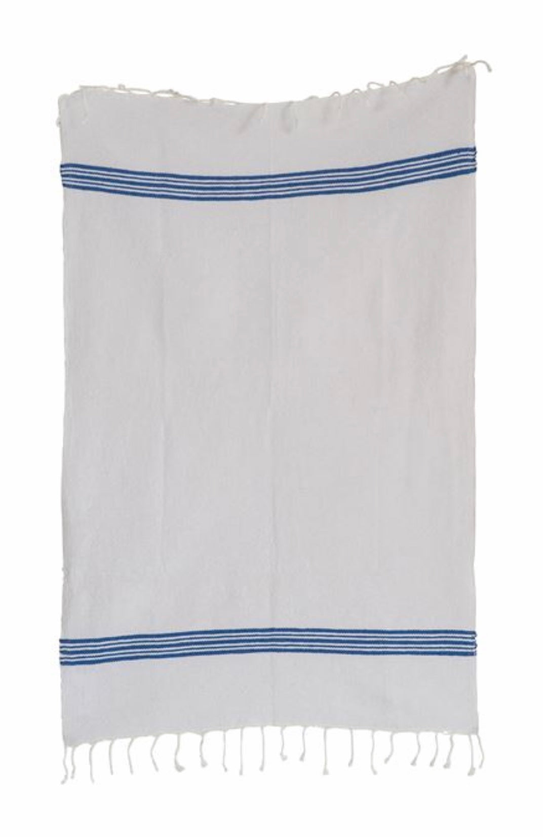 blue and white hand towel