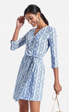 Load image into Gallery viewer, blue wrap dress persifor