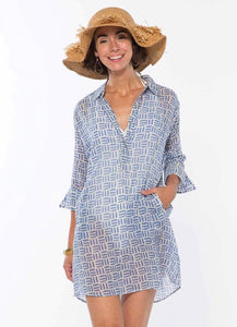 Pillars Blue Cotton Beach Cover Up