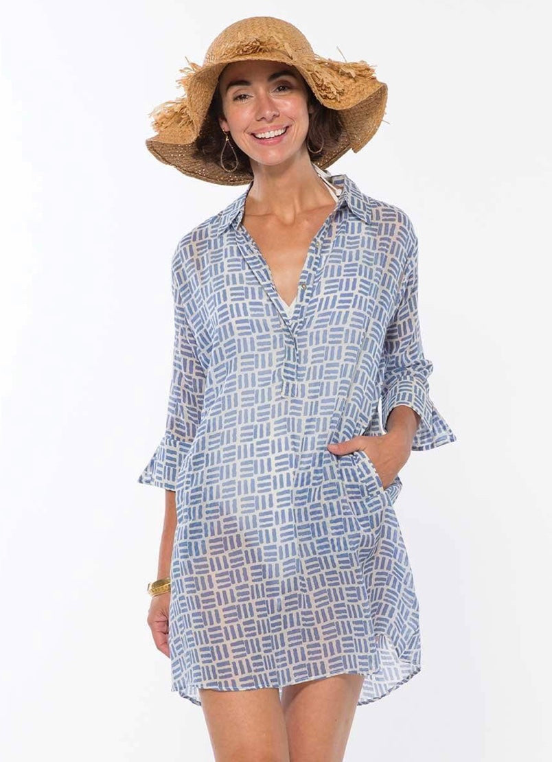 Pillars Blue Cotton Beach Cover-up