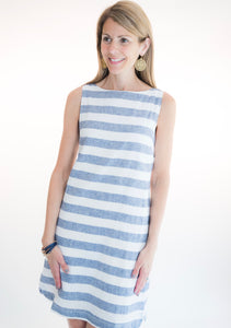 blue and white linen sleevleess shift dress