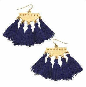 Navy Tassle Earrings