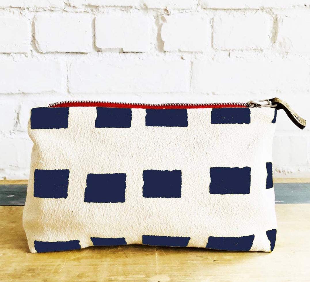 Navy Squares Cosmetic Bag By Erin Flett