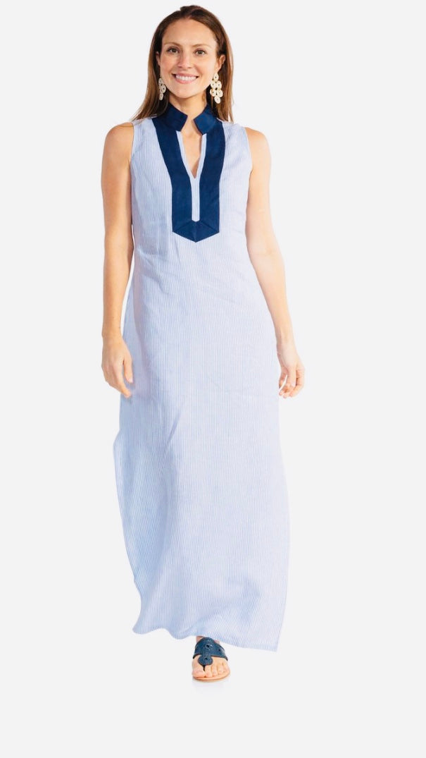 Stripe Linen Sleeveless Classic Maxi Tunic by Sail to Sable