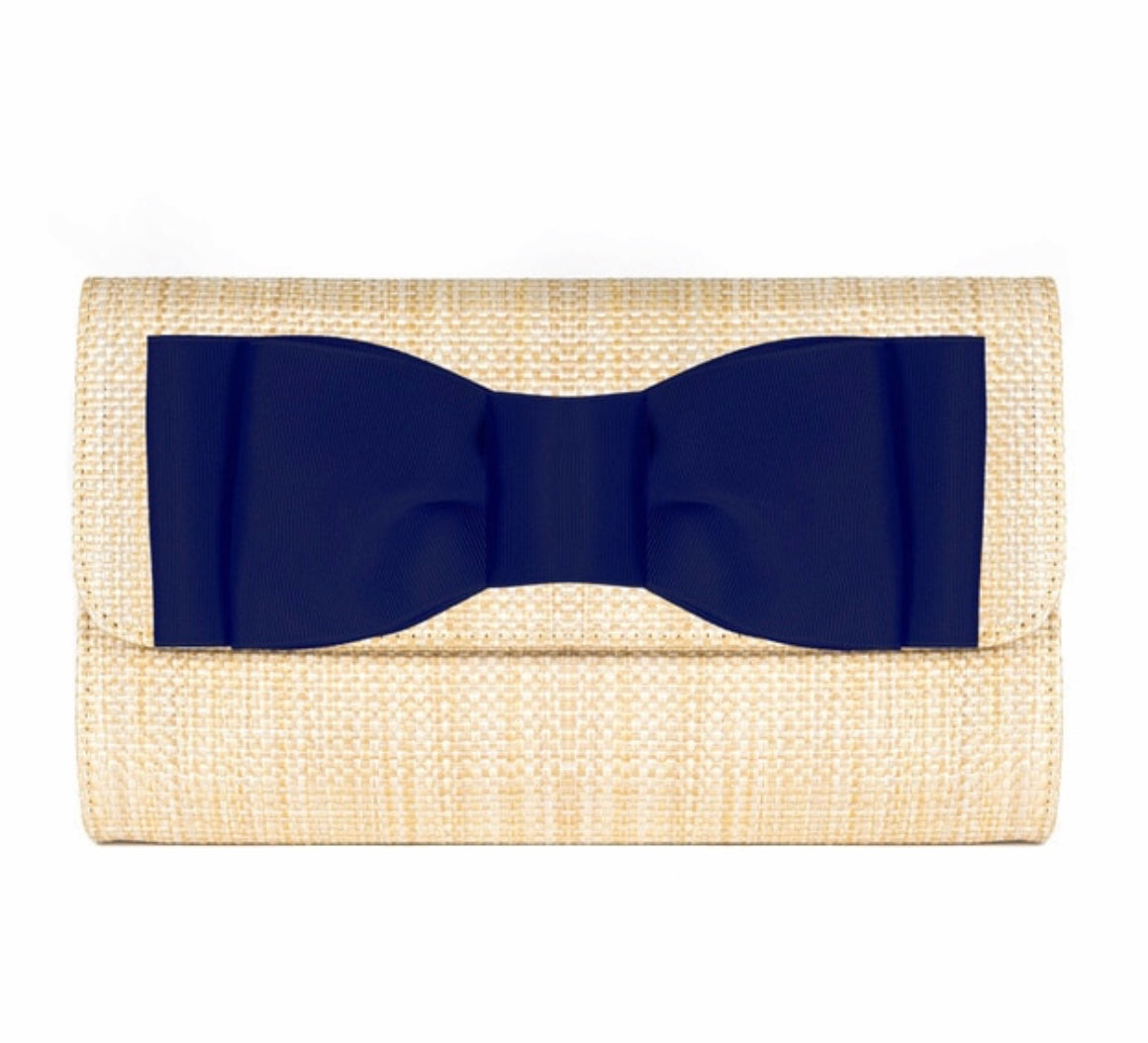 Avery Clutch with Navy Bow By Lisi Lerch