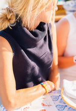 Load image into Gallery viewer, Navy Cotton Sleeveless Sweater By Sail to Sable