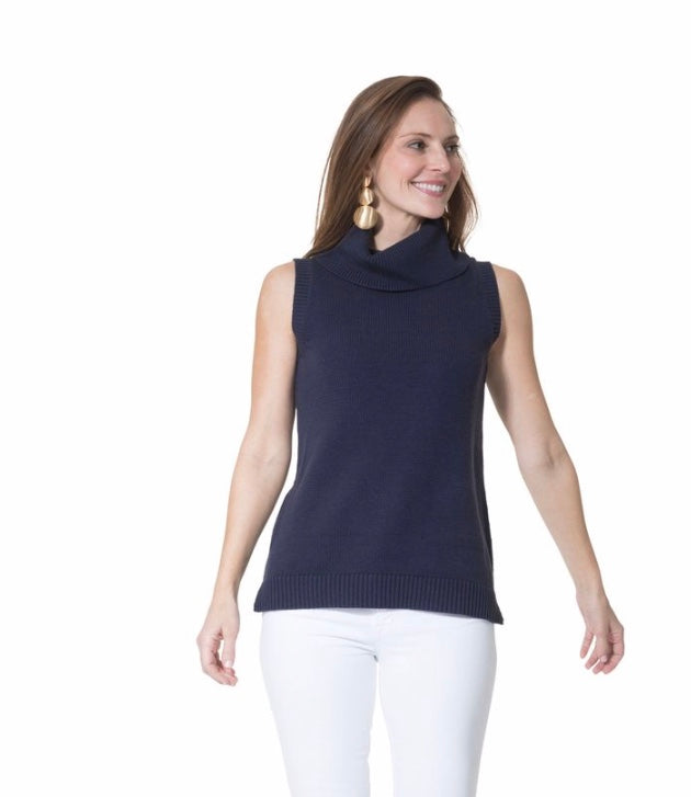 Navy Cotton Sleeveless Sweater By Sail to Sable