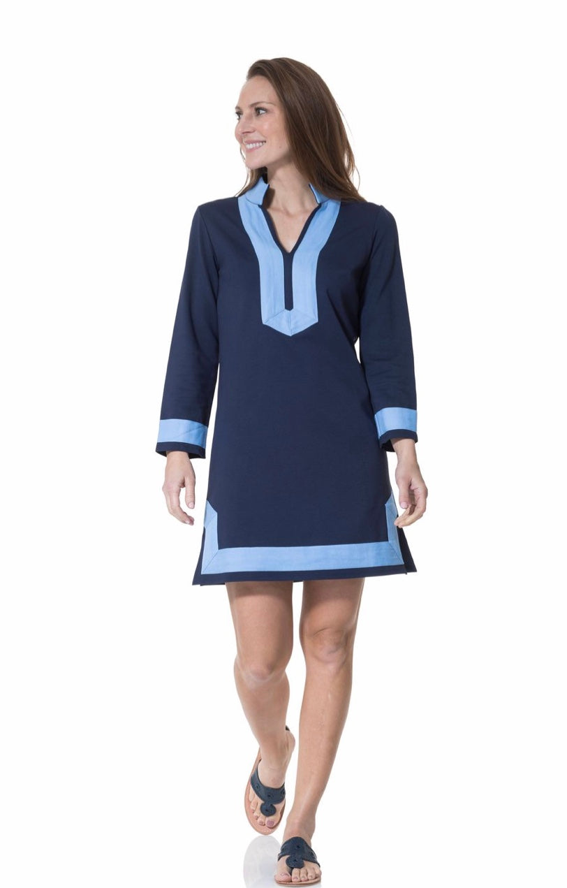 Long Sleeve Classic Tunic in Navy with Sky Blue Collar By Sail to Sable