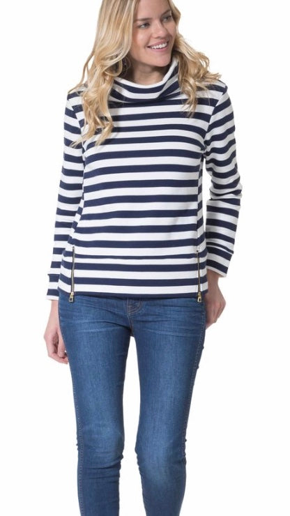 Navy and White Stripe French Terry Cowl Neck Pullover By Sail to Sable