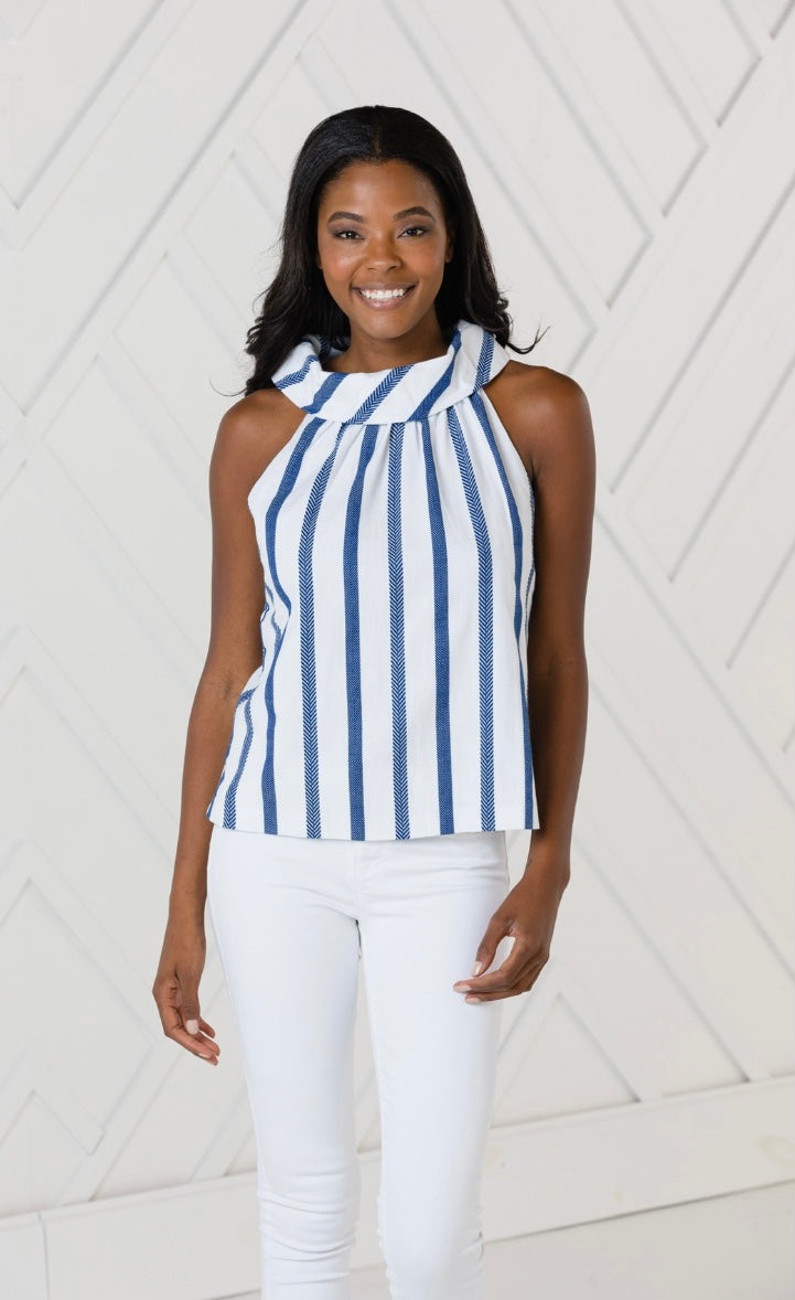 Stripe Cowl Neck Top By Sail to Sable