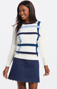 Windowpane Cable Puff Sleeve Sweater By Draper James