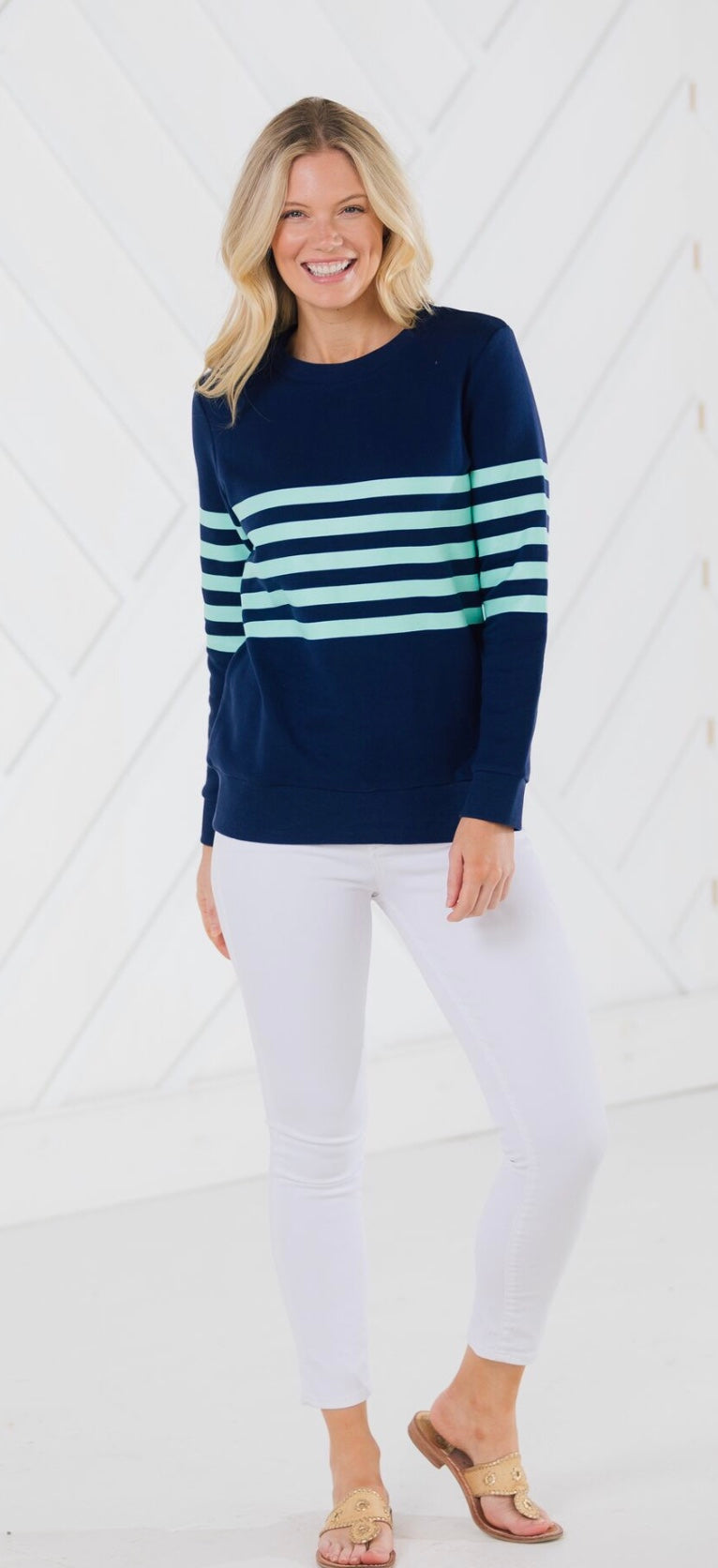 Stripe French Terry Sweatshirt Navy By Sail to Sable