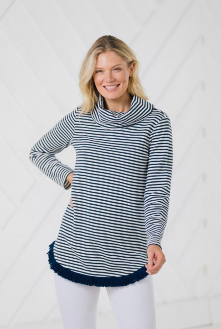 Stripe Knit Long Sleeve Cowl Neck Pullover with Fringe