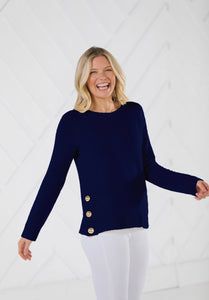 Long Sleeve Side Button Sweater Navy By Sail to Sable